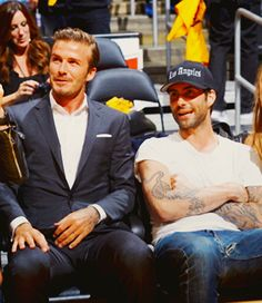 LOS ANGELES, CA - OCTOBER 30: Los Angeles Galaxy soccer player David Beckham and recording artist Adam Levine of Maroon 5 attend a game between the Dallas Mavericks and the Los Angeles Lakers at Staples Center on October 30, 2012 in Los Angeles, California. NOTE TO USER: User expressly acknowledges and agrees that, by downloading and/or using this Photograph, user is consenting to the terms and conditions of the Getty Images License Agreement. Mandatory Copyright Notice: Copyright 2012 NBAE (Photo by Andrew D. Bernstein/NBAE via Getty Images)